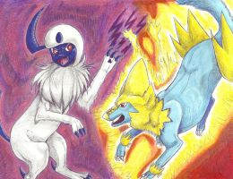 Absol versus Manectric by PacificPikachu