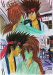 kenshin wearing an oxygen mask and sanosuke by eve1789