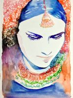 Watercolor Portrait indian girl by young920
