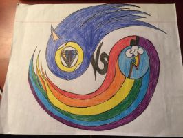 Sonic the hedgehog vs rainbow Dash Symbol. by TristanMendez