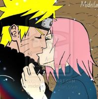 Kiss of NaruSaku by mideila