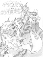 Growlmon vs flamedramon by sakura11