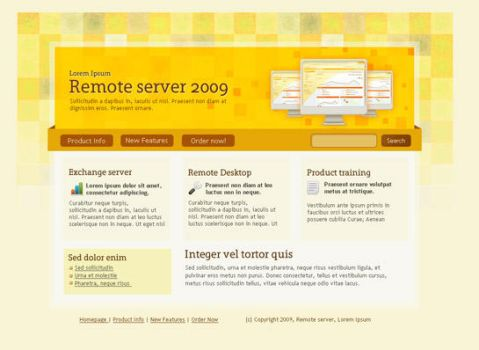 Yellow website design template by bevel-and-emboss