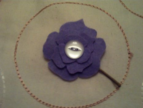 Purple Rose Hairclip by PeaMonkey