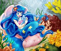 Mermaid Lena and baby Phione by chikorita85