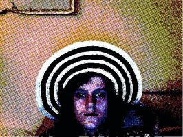 Me with first new sun hat by LivingGreyFace
