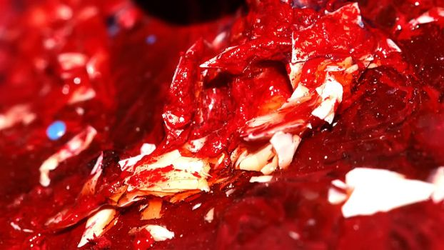 Red Oil Paint Macro Photo by shadedancer619