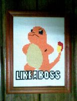Charmander in cross stitch by camilasilvestre