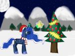 Princess Luna putting a star on the tree by barnowlgurl23