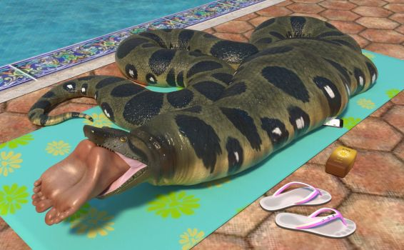 Snake Swallows Sexy Sunbather by Voremantic