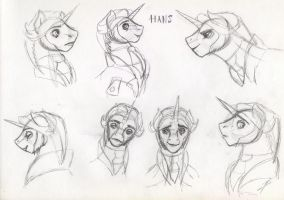 My little Frozen: Hans the Unicorn (Sketches) by DragonaDeMetal