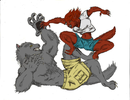 Wolves at Play - Colors by tigerfangart