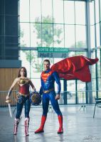 Wonder Woman Injustice and Superman cosplay by joulii91