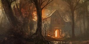 Cabin in the autumn woods by SSGlushakov
