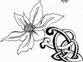 Celtic Flower Lineart by GleamingPinkStarlite