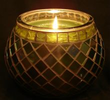 Green Mosaic Glass Candle 3 by FantasyStock