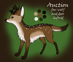 Fox/Wolf and Deer Hybrid Adoptable [AUCTION ENDED] by OkamiWhitewings
