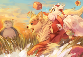 Day 7 + 8: Arcanine + Delibird by Sangcoon