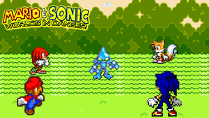 Mario, Sonic, Tails, and Knuckles vs Chaos by jmkrebs30