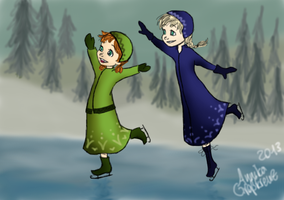 little Anna and Elsa on ice by BellAnska