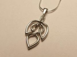 Celtic Knot Leaf Necklace - White Brass Matter by dfoley75