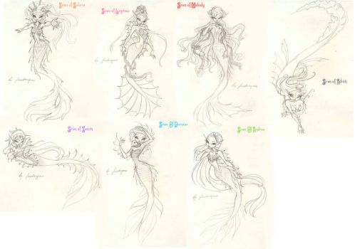 Sirens of the seven seas sketch by fantazyme