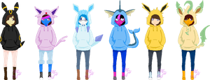 Team Random Eeveelutions Sweatjackets by Starla-Stroke94