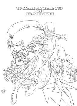 Guardians of Earth Cover Line Art by g-kwan155