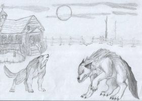 wolves and house by Wolfiesprite