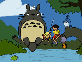 adventure time and my neighbor totoro crossover by isotic