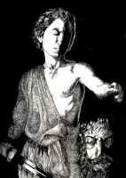 david with the head of goliath by mozzzca