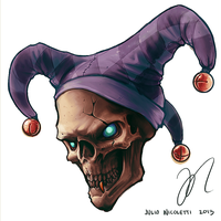 Jester Skull tattoo design by JulioNicoletti