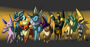 Halloween Eeveelutions by jaclynonacloud