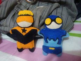 Booster Gold and Blue Beetle by anadelonge