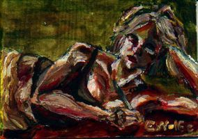 Self portrait reclining by passion-cross