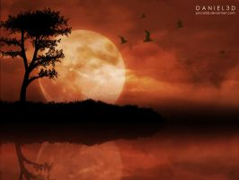 The moon and the birds by pincel3d