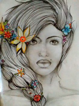 Girl with flowers by Tatti18