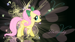 Fluttershy with ponytail wallpaper by LeonBrony