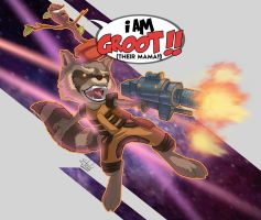 Rocket Racoon and groot by etubi92