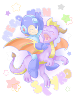 Cute Megaman and Spyro desing by Estefanoida