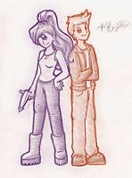 Leela and Fry -sketch- by brigette