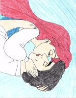 Ariel and Eric Drawing by julietcapulet432