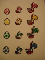 Perler Art: Versions of Yoshi by thewiredslain