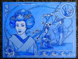 Porcelain geisha by khallion