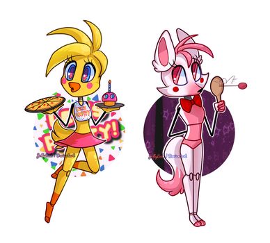 Stylized Chibi: Toy Chica and Mangle by JollyLink