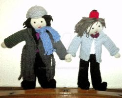 My knitted Sherlock and Eleventh Doctor by Time-LadyO