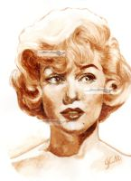 marilyn monroe coffee painting by aramismarron