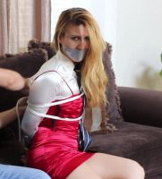 Elegant woman with tie and Tape gag 7 by darkhause