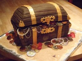 Pirate treasure chest cake by Shoshannah84