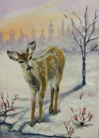 ACEO Whitetail Deer by annieoakley64